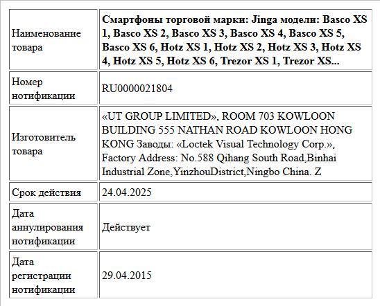 Смартфоны торговой марки: Jinga модели: Basco XS 1, Basco XS 2, Basco XS 3, Basco XS 4, Basco XS 5, Basco XS 6, Hotz XS 1, Hotz XS 2, Hotz XS 3, Hotz XS 4, Hotz XS 5, Hotz XS 6, Trezor XS 1, Trezor XS...