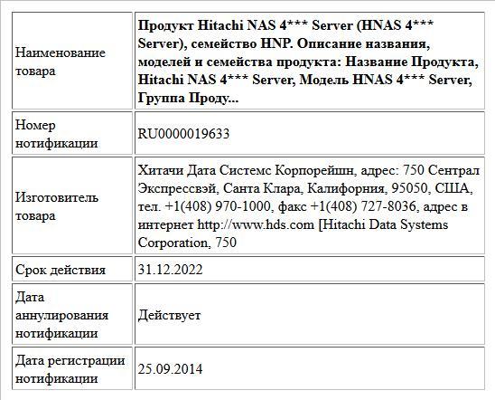 Продукт Hitachi NAS 4*** Server (HNAS 4*** Server), семейство HNP. Описание названия, моделей и семейства продукта: Название Продукта, Hitachi NAS 4*** Server,  Модель  HNAS 4*** Server, Группа Проду...