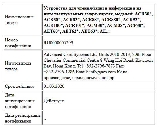 Устройства для чтения/записи информации на интеллектуальных смарт-картах, моделей: ACR30*, ACR38*, ACR83*, ACR88*, ACR880*, ACR92*, ACR100*, ACR101*, ACM30*, ACM38*, ACF30*, AET60*, AET62*, AET63*, AE...