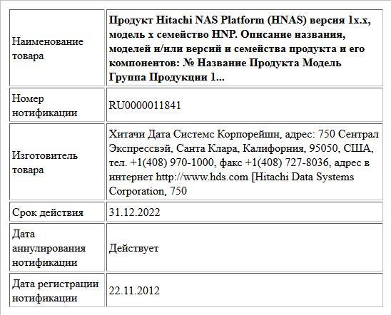 Продукт Hitachi NAS Platform (HNAS) версия 1x.х, модель х семейство HNP. Описание названия, моделей и/или версий и семейства продукта и его компонентов: № Название Продукта Модель Группа Продукции 1...