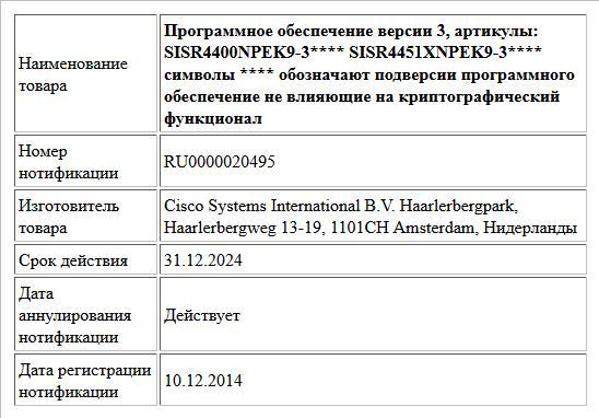 Программное обеспечение версии 3, артикулы: SISR4400NPEK9-3**** SISR4451XNPEK9-3**** символы **** обозначают подверсии программного обеспечение  не влияющие на криптографический функционал