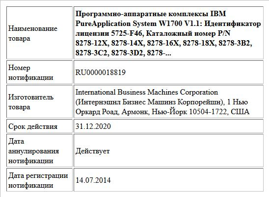 Программно-аппаратные комплексы IBM PureApplication System W1700 V1.1: Идентификатор лицензии 5725-F46, Каталожный номер P/N 8278-12X, 8278-14X, 8278-16X, 8278-18X, 8278-3B2, 8278-3C2, 8278-3D2, 8278-...