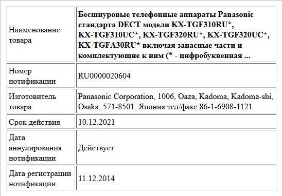 Бесшнуровые телефонные аппараты Panasonic стандарта DECT модели KX-TGF310RU*, KX-TGF310UC*, KX-TGF320RU*, KX-TGF320UC*, KX-TGFА30RU* включая запасные части и комплектующие к ним (* - цифробуквенная  ...