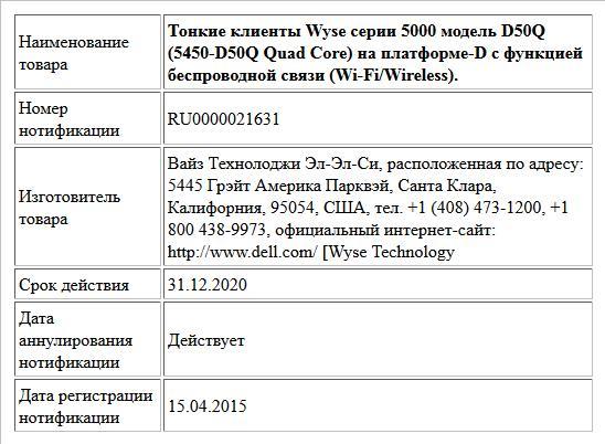Тонкие клиенты Wyse серии 5000 модель D50Q (5450-D50Q Quad Core) на платформе-D c функцией беспроводной связи (Wi-Fi/Wireless).