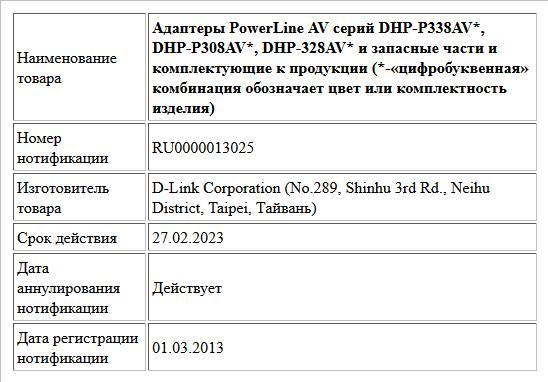 Адаптеры PowerLine AV серий DHP-P338AV*, DHP-P308AV*, DHP-328AV* и запасные части и комплектующие к продукции (*-«цифробуквенная» комбинация обозначает цвет или комплектность изделия)
