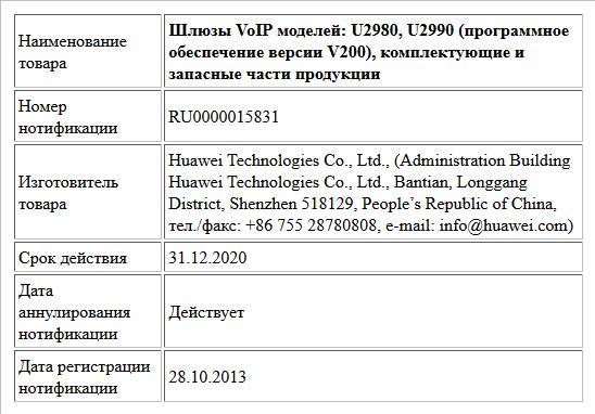 Шлюзы VoIP моделей: U2980, U2990 (программное обеспечение версии V200), комплектующие и запасные части продукции