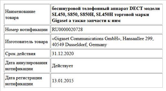 бесшнуровой телефонный аппарат DECT модели SL450, S850, S850H, SL450H торговой марки Gigaset  а также запчасти к ним