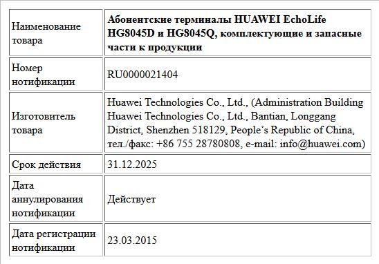 Абонентские терминалы HUAWEI EchoLife HG8045D и HG8045Q, комплектующие и запасные части к продукции