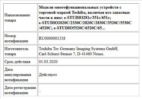 Модели многофункциональных устройств с торговой маркой Toshiba, включая все запасные части к ним:  e-STUDIO281c/351c/451c; e-STUDIO2020C/2330C/2820C/2830C/3520C/3530C/4520C;  e-STUDIO5520C/6520C/65...
