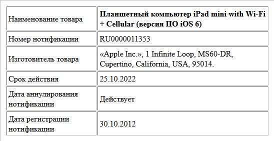 Планшетный компьютер iPad mini with Wi-Fi + Cellular (версия ПО iOS 6)