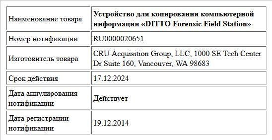 Устройство для копирования компьютерной информации «DITTO Forensic Field Station»