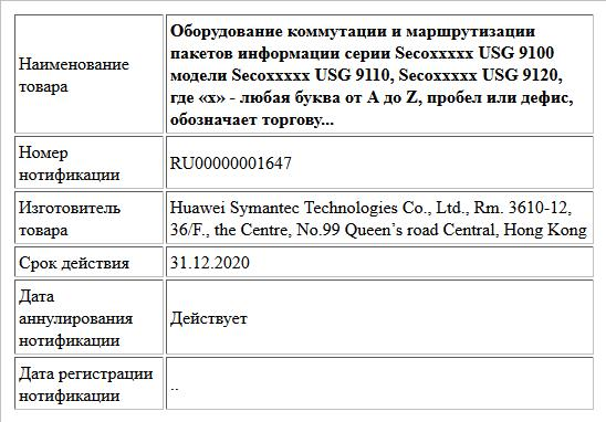 Оборудование коммутации и маршрутизации пакетов информации серии Secoххххх USG 9100 модели Secoххххх USG 9110, Secoххххх USG 9120, где «х» - любая буква от A до Z, пробел или дефис, обозначает торгову...