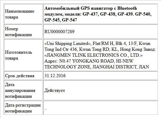 Автомобильный GPS навигатор с Bluetooth модулем, модели: GP-437, GP-438, GP-439. GP-540, GP-545, GP-547